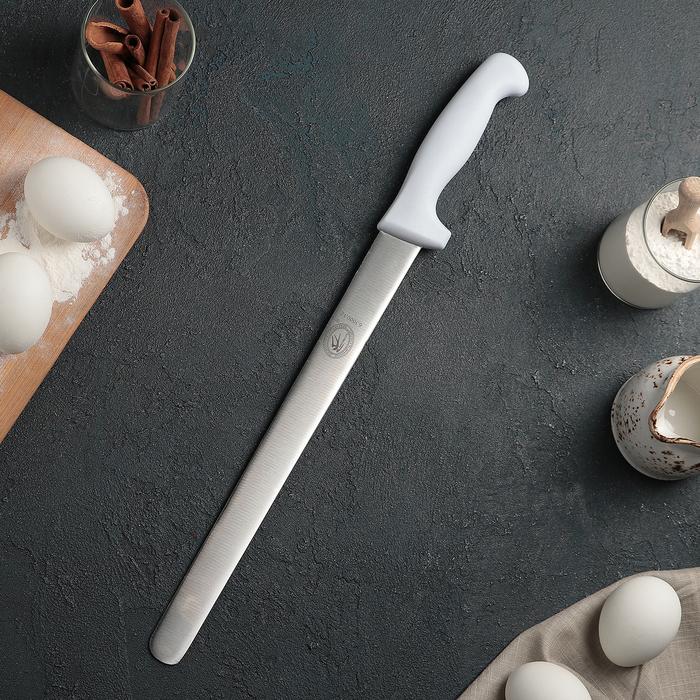 Нож для бисквита, ровный край, ручка пластик, рабочая поверхность 30 см (12»)