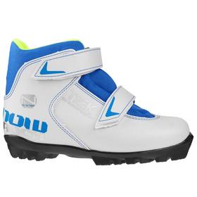 Ski boots TREK Snowrock NNN 2 belts, white, logo blue, size 32.