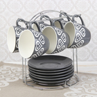 """Набор чайный """"Романтика"""", 12 предметов: 6 чашек 210 мл, 6 блюдец, на подставке, цвет серый"""