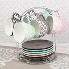"""Набор чайный """"Романтика"""", 12 предметов: 6 чашек 210 мл, 6 блюдец, на подставке, цвета МИКС"""