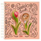 """Тетрадь-скетчбук А5, 80 листов клетка на гребне """"Цветочное настроение"""", твёрдая обложка, блок 120 г/м2"""