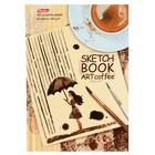 Бизнес-блокнот (скетчбук) А6, 80 листов Art Coffee, твёрдая обложка, блок 100 г/м2