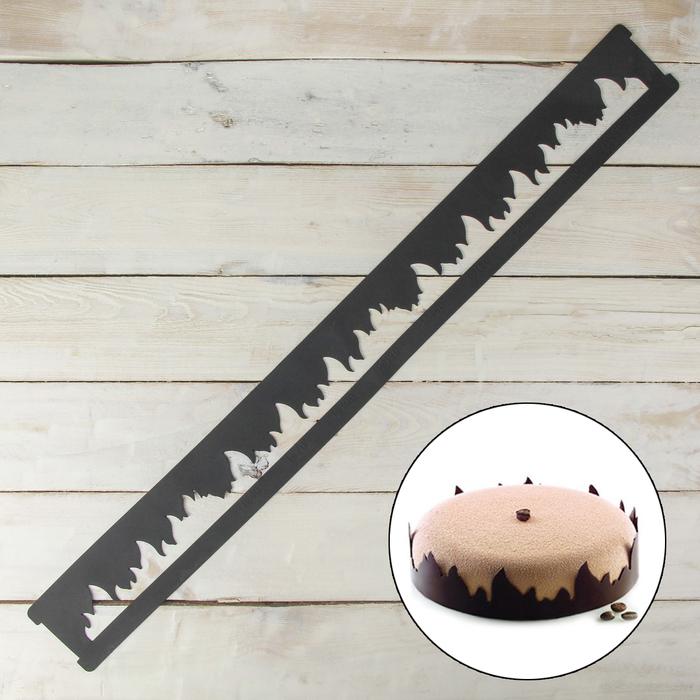 "Форма кондитерская-трафарет для шоколада ""Пламя"" 78,5х8,5х0,2 см, цвет чёрный"