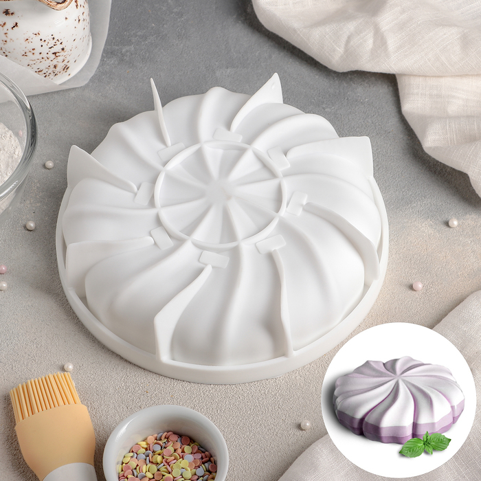 Форма для муссовых десертов и выпечки «Зефир», 19×5 см, цвет белый