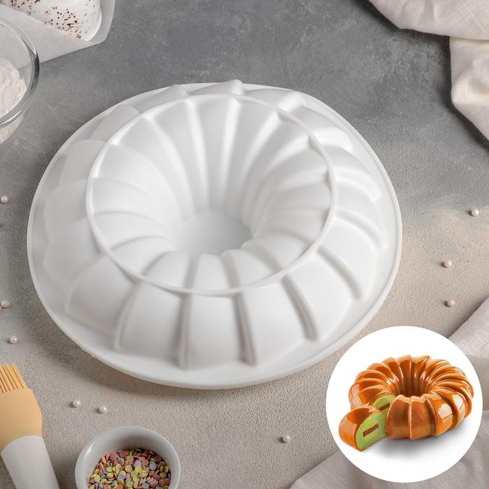 Форма для муссовых десертов и выпечки «Немецкий кекс. Вихрь», 25,6×6,5 см, цвет белый