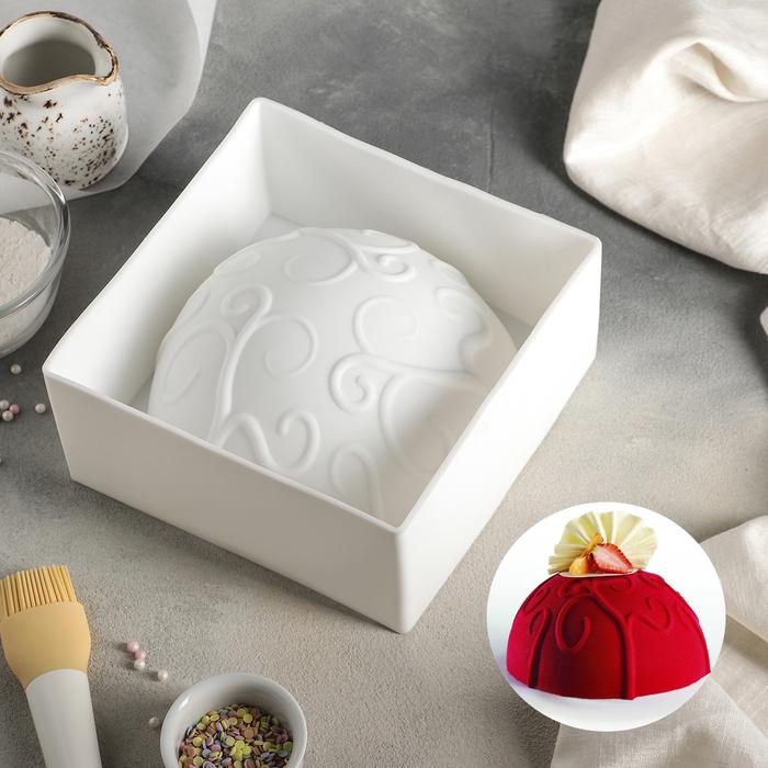 Форма для муссовых десертов и выпечки 19,3×9,2 см «Вензель», внутренний d=18,3 см, цвет белый