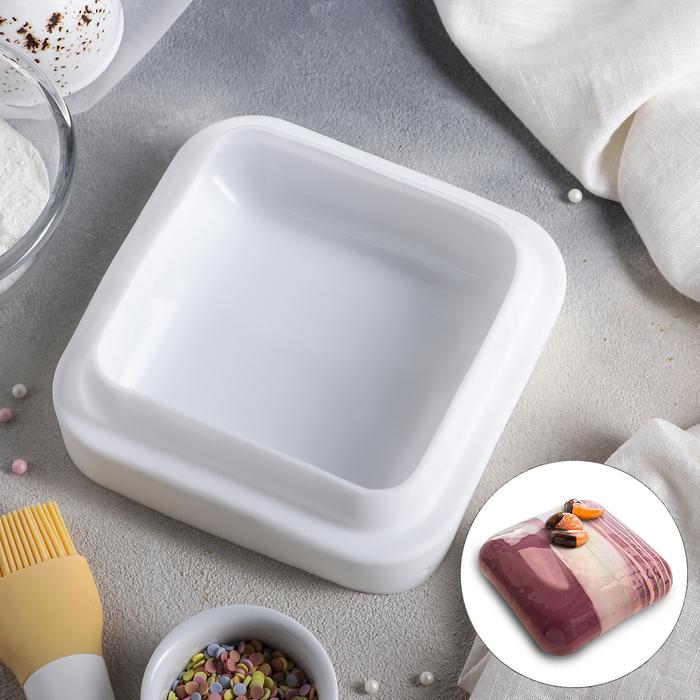 Форма для муссовых десертов и выпечки «Квадро», 16,5×5,5 см, цвет белый - фото 308045036