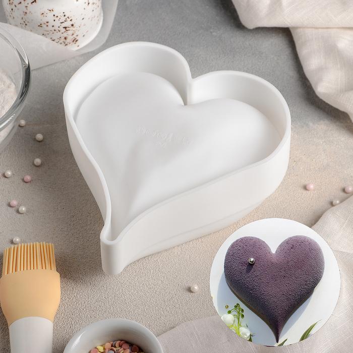 Форма для муссовых десертов и выпечки «Сердечко», 17×16 см, цвет белый - фото 308045735