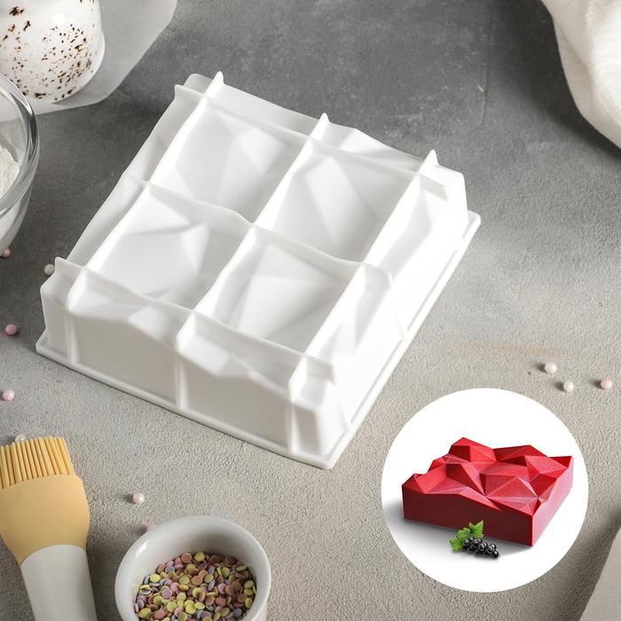 """Форма для муссовых десертов и выпечки 16×15,5 см """"Сладкие скалы"""", цвет белый"""