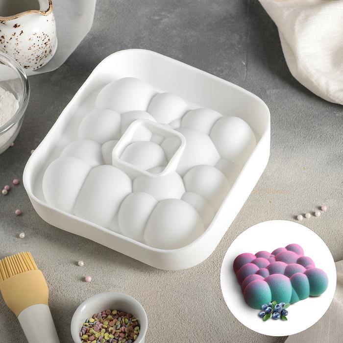 Форма для муссовых десертов и выпечки «Воздушные пузыри», 19 × 19 × 5,5 см, цвет белый
