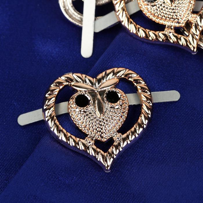Декоративные элементы на прокол «Совы», 3 × 2,6 см, 10 шт, цвет золотой - фото 705016161