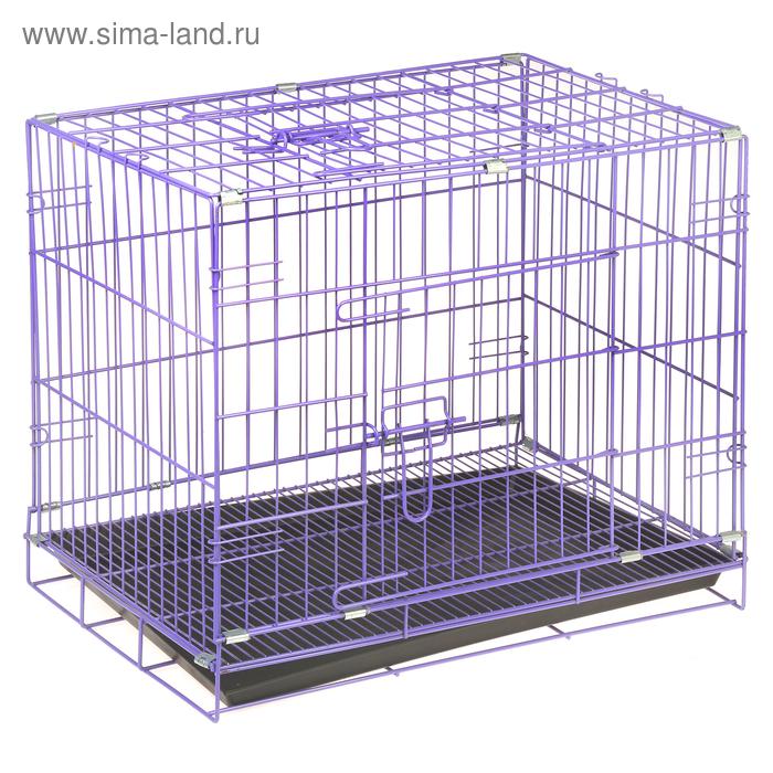 Клетка для кошек и собак с 2 дверьми и поддоном, 60 х 42 х 50 см