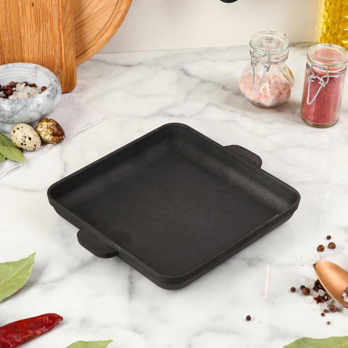 "Сковорода чугунная ""Хорека"", порционная, квадратная, BRIZOLL, 18 х 18 х 2,5 см"