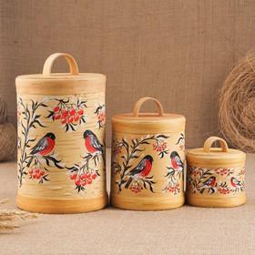 Набор туесов «Птички», ручная роспись, 3 шт, размер туеса: 18×12×12 см, береста