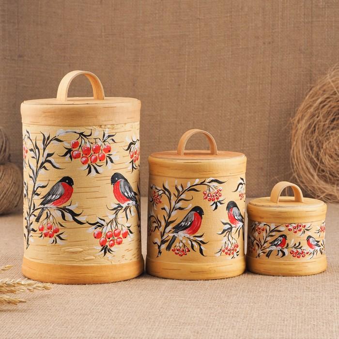Набор туесов «Птички», ручная роспись, 3 шт, размер туеса: 18×12×12 см, береста - фото 797889869