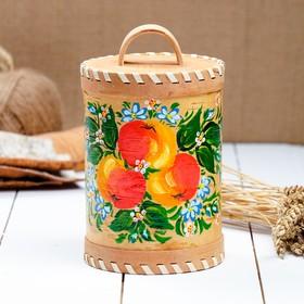 Туес «Яблочко», 10×10×12 см, с ручной росписью, береста