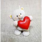 """Свеча """"Мишка с сердцем"""" 8,6х7,5х11 см бежевый"""