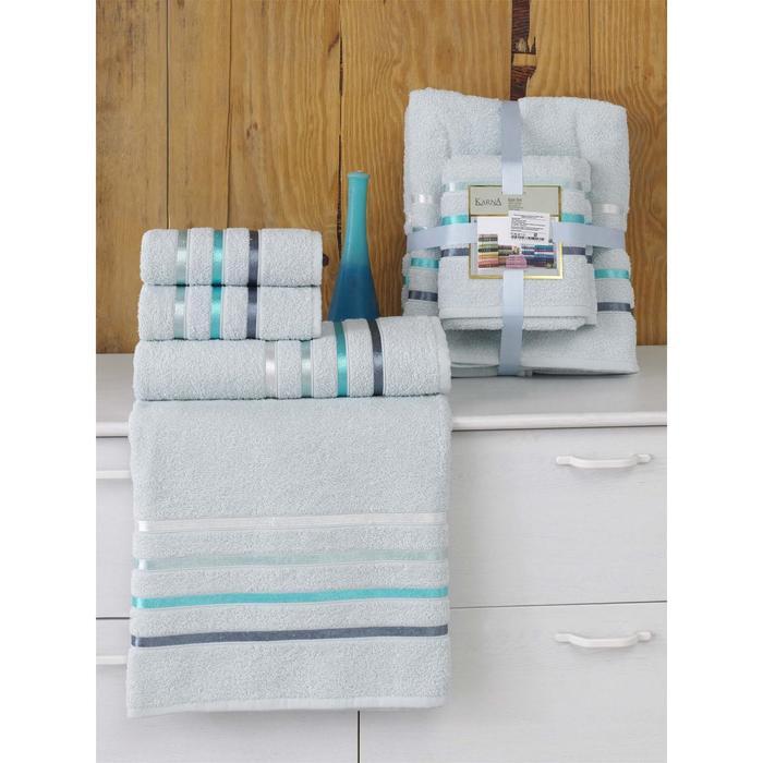 Комплект махровых полотенец Bale, 50 х 80 см - 2 шт, 70 х 140 см - 2 шт, ментол - фото 7929588