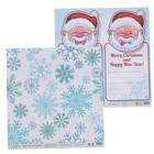 """Бумага для скрапбукинга """"Новый год. Снежинки и листочки с Сантой"""" 30,5х30,5 см  190г/м2"""