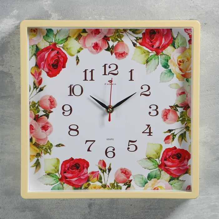 "Часы настенные квадратные ""Розы"", 30х30 см, обод жёлтый"