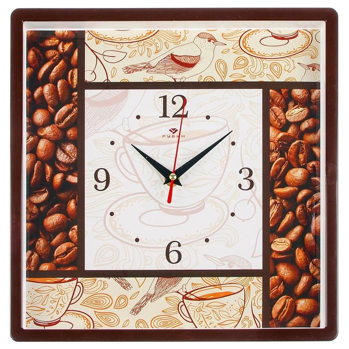 """Часы настенные квадратные """"Кофе"""", 30х30 см, обод коричневый"""