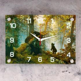 """Часы настенные, серия: Животный мир, """"Утро в сосновом бору"""", 25х35  см, микс"""