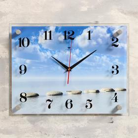 """Часы настенные, серия: Море, """"Камушки на воде"""", 30х40  см, микс"""