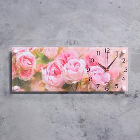 "Часы настенные, серия: Цветы, ""Пионы"", 20х50 см"