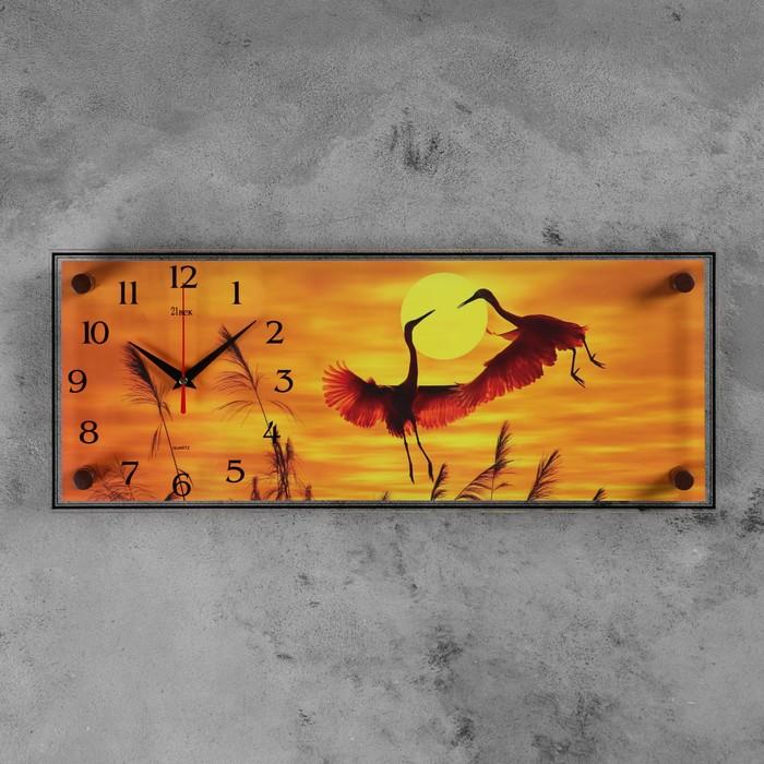 """Часы настенные, серия: Животный мир, """"Цапли"""", 20х50 см"""