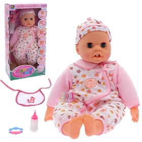 "The functional doll ""Baby"" with accessories, audio features, grow teeth, moving tongue, MIX"