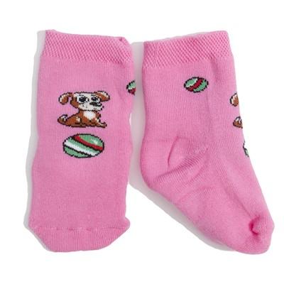 """Носки детские плюшевые 8с942 """"Собака"""" цвет розовый, р-р 11-12"""