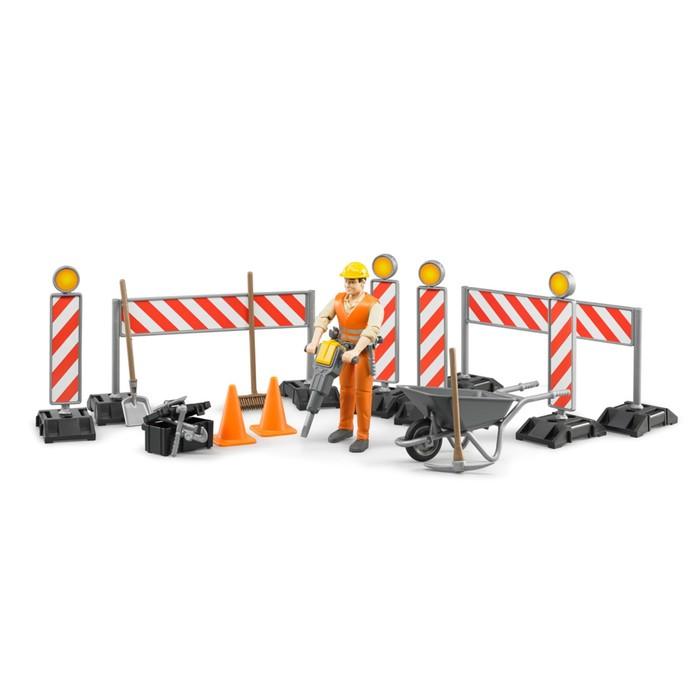 Набор знаков дорожных работ с фигуркой рабочего