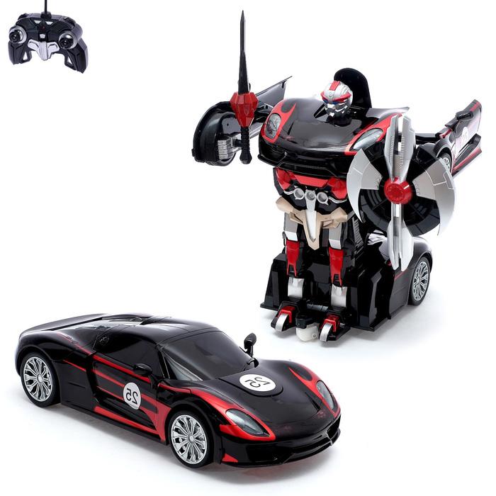"""Робот-трансформер радиоуправляемый """"Автобот"""", работает от аккумулятора, масштаб 1:14, цвет чёрный"""