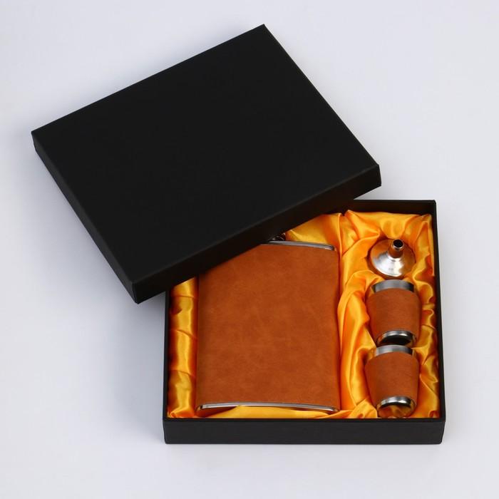 """Подарочный набор 4 в 1 """"Майкл"""": фляжка 240 мл + 2 рюмки, воронка"""