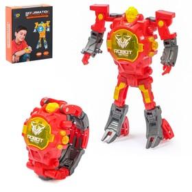 Робот-трансформер «Часы», трансформируется в часы, работает от батареек, цвет красный
