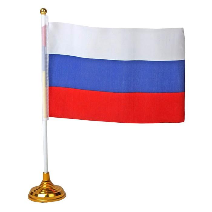 Флаг России 14 × 21 см со штоком на подставке