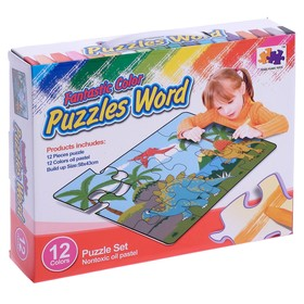 """Mat-puzzle """"Dinosaurs"""" from crayons"""