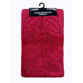 Набор ковриков для ванной 2 шт LEMIS 60х100, 60х50, цвет вишневый
