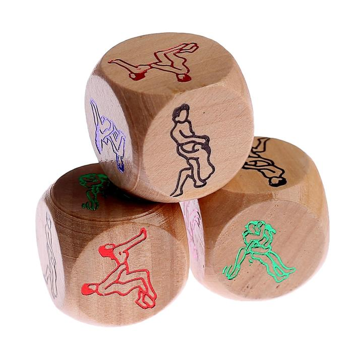 """Кости игральные """"Позы 18+"""", 3х3 см, деревянные"""