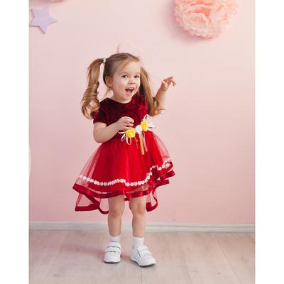 Нарядное платье для девочки,рост 92 см, цвет бордовый 7600-1_М