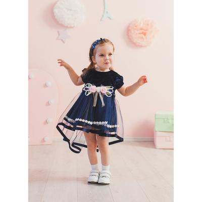 Нарядное платье для девочки,рост 80 см, цвет синий 7600-1_М