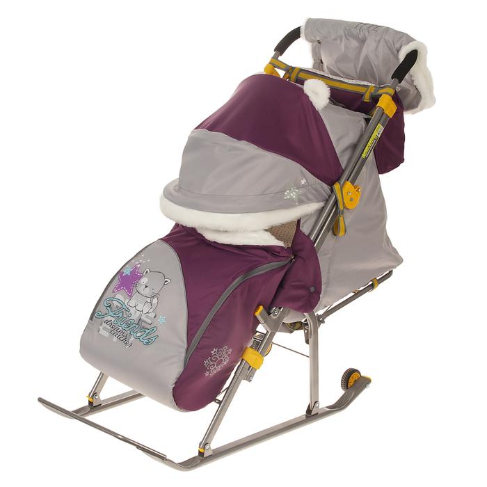 Санки-коляска «Ника детям 6. Котенок», цвет баклажан