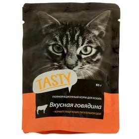 Влажный корм Tasty для кошек,говядина в желе, пауч, 85 г Ош