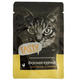 Влажный корм Tasty для кошек, курица в желе, пауч, 85 г Ош