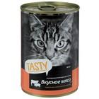Влажный корм Tasty для кошек, мясное ассорти в соус, ж/б, 415 г