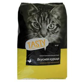 Сухой корм Tasty для взрослых кошек, курица, 10 кг