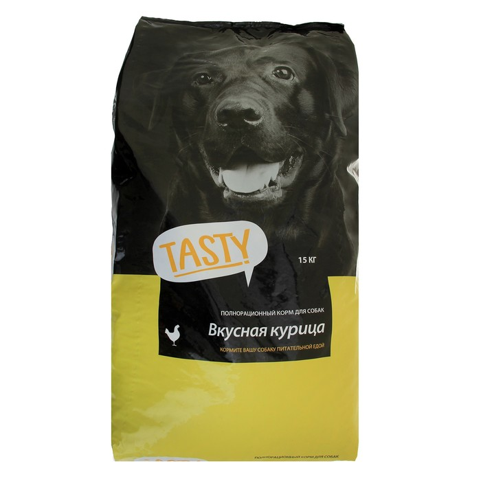 Сухой корм Tasty для взрослых собак, курица, 15 кг