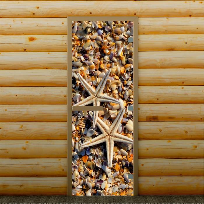 """Дверь для бани и сауны """"Ракушки"""", 190 х 70 см, с фотопечатью 8 мм Добропаровъ"""