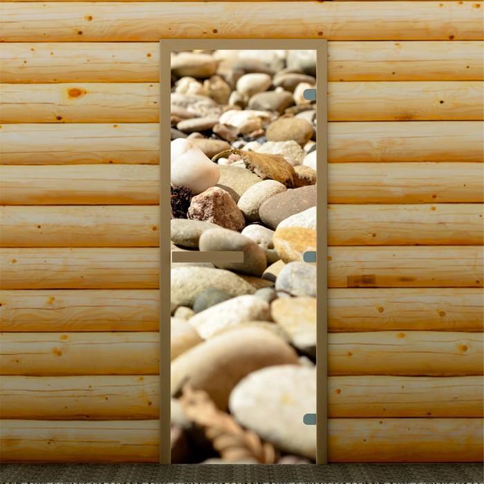 """Дверь для бани и сауны """"Камни"""", 190 х 70 см, с фотопечатью 8 мм Добропаровъ"""