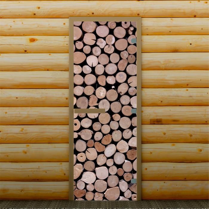 """Дверь для бани и сауны """"Спилы"""", 190 х 70 см, с фотопечатью 8 мм Добропаровъ"""
